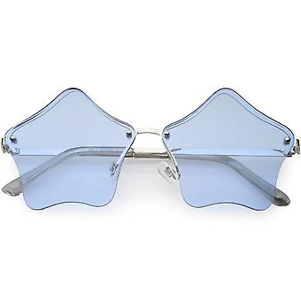 Star Shaped Rimless Sunglasses Metal Frame Color Tinted Lens 55mm