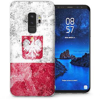 Samsung Galaxy S9 Plus Retro-Polen Flagge TPU Gel Case - weiß