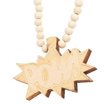 Wood style Bead Necklace - beige POW POW