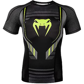 Venum Technical 2.0 Short Sleeve MMA Compression Rashguard - Black/Yellow