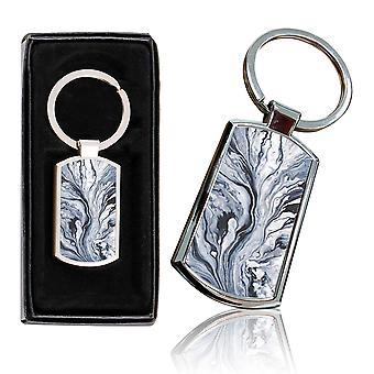 i-Tronixs - Premium Marble Design Chrome Metal Keyring with Free Gift Box (1-Pack) - 0043
