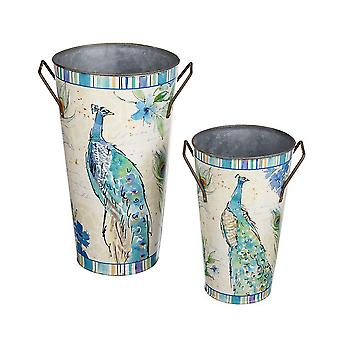Peacock Design Metal Set Planters (2 Pieces)