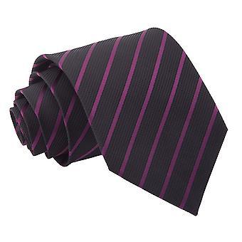 Zwart / paars één streep klassieke Tie