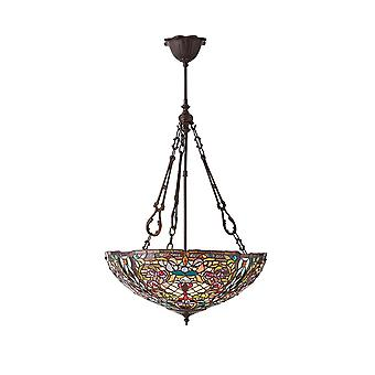 Interiors 1900 Anderson 3 Light Inverted Tiffany Ceiling Pendant