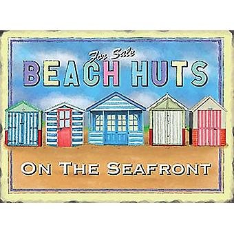 Beach Huts Large Steel Wall Sign 400Mm X 300Mm