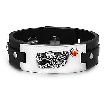 Courage Dragon Magic Protection Powers Amulet Red Jasper Gemstone Adjustable Leather Bracelet