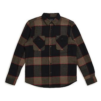 Brixton Bowery Flannel Long Sleeve Shirt Heather Grey Charcoal