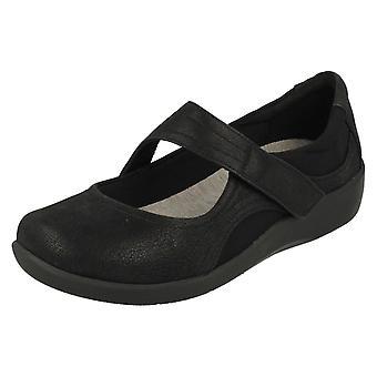 Ladies Clarks Cloudsteppers Casual Shoes Sillian Bella - Black Textile - UK Size 3E - EU Size 35.5 - US Size 5.5