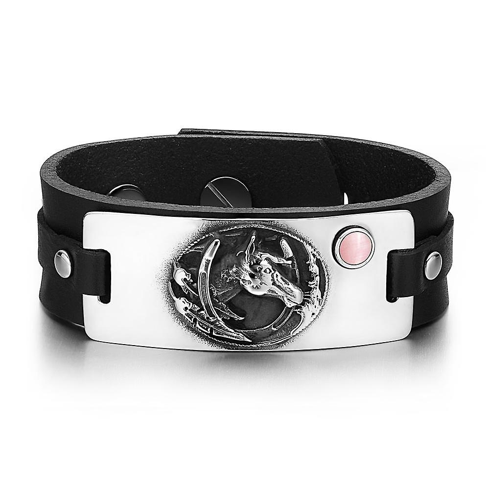 Brave Mustang Lucky Horse Shoe Amulet Tag Pink Simulated Cats Bracelet Eye Adjustable Black Leather Bracelet Cats f8b8bf