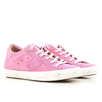 Philippe Model Frauen low Top Sneaker in Rosa Wildleder