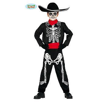 Mexicaanse skelet kostuum voor dag van de kinderen van de dode El Muerto Halloween kostuum