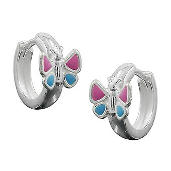 Hoop earrings butterfly silver 925