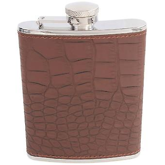 David Van Hagen 5oz Croc Stainless Steel Hip Flask - Brown/Silver