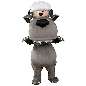 mascot SPOTSOUND of gray wolf with a sheep on the head