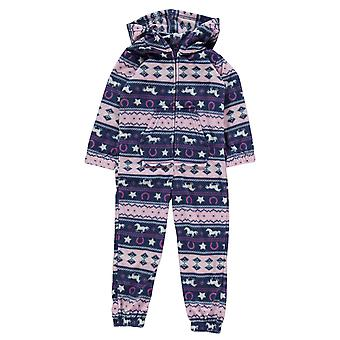 Fairisle Kids Girls Onesie Infant Pyjama Set Hooded Zip Pattern Print