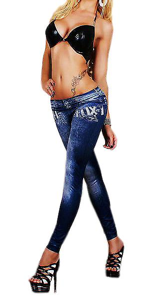 Waooh - Fashion - Legging effect faded jeans Roman Figures Pattern