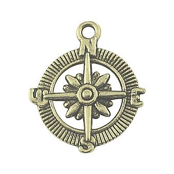 Packet 10 x Steampunk Antique Bronze Tibetan 29mm Compass Charm/Pendant ZX02160