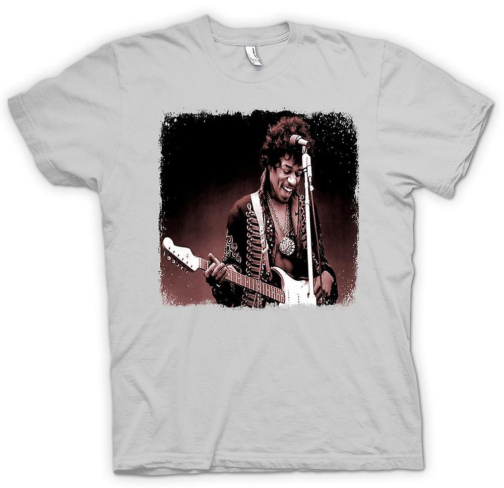 Mens t-skjorte - Jimi Hendrix - Sepia - stående
