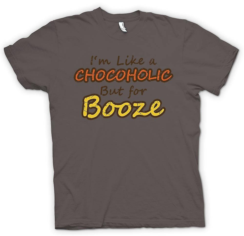 Mens T-shirt - Im Like A Chocoholic But For Booze