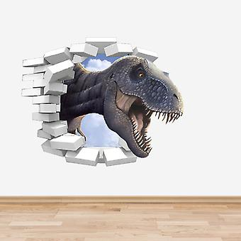 Full Colour Dinosaur TRex Coming Through a Wall Sticker Version 2