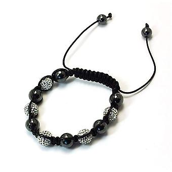 TOC Treated Hematite & Clear Crystal Disco Ball Adjustable Bracelet