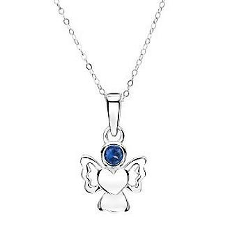 Jo For Girls Sterling Silver September Simulated Birthstone Angel Pendant 14
