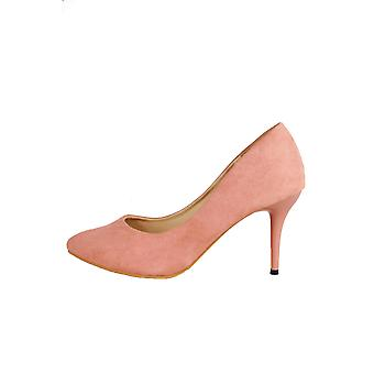 LMS Peach Suedette Court Shoe With Mid Height Heel