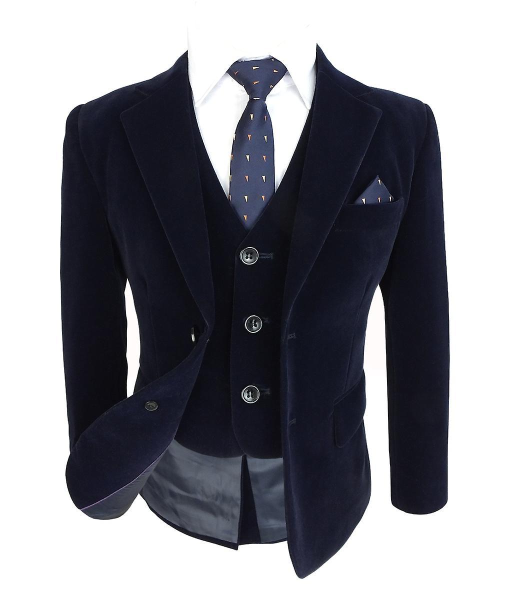 garçons Slim Fit Navy velours Suit