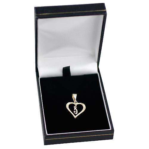 9ct Gold 18x18mm heart Pendant with a hanging Initial G