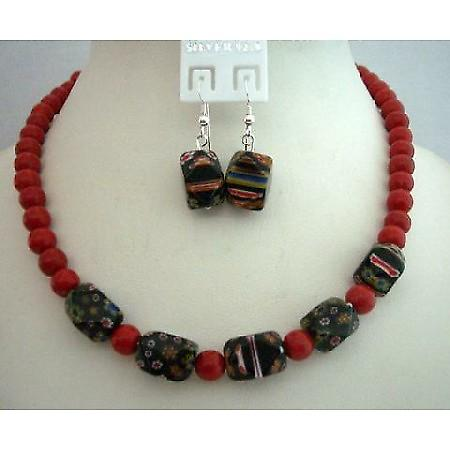 Custom Jewelry Coral 8mm Beads w/ Millefiori Murano Glass Bead