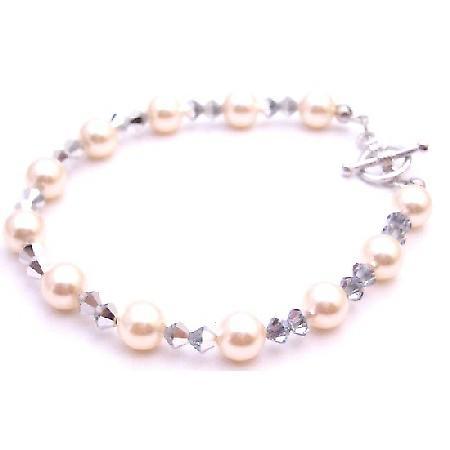 Unique Bridesmaid Bracelet Ivory Pearl Comet Crystal Swarovski Jewelry