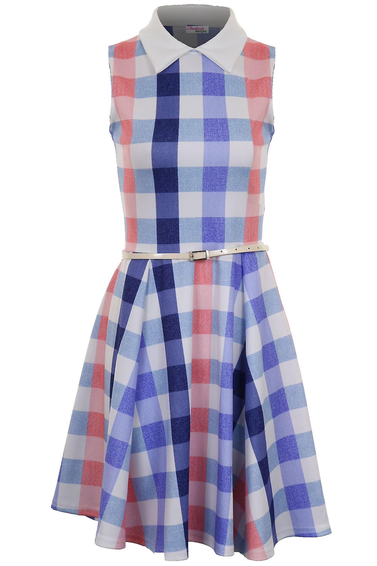 Ladies Sleeveless Peter Pan Collar Belted Chequered Women's Flare Party Dress