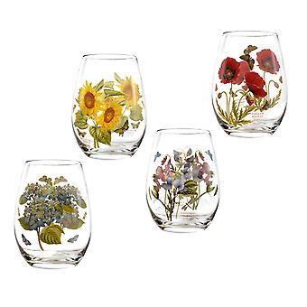 Portmeirion Set of 4 Botanic Garden Stemless Wine Glasses