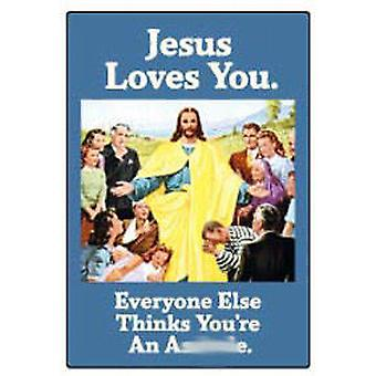 Jesus loves you funny fridge magnet