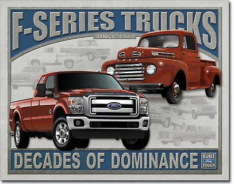 Ford F-Series Trucks Decades Metal Sign (ga)
