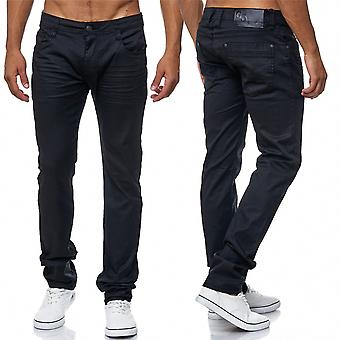 Men's Jeans Pants Coated Black Slim Fit