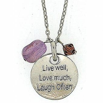 TOC 'Live Well  Love Much  Laugh Often' Purple Charm Pendant Necklace 18
