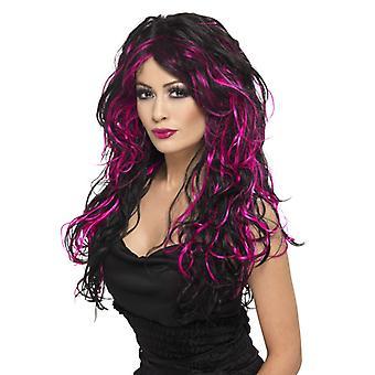 ゴシック様式花嫁黒とピンク髪とウィッグします。
