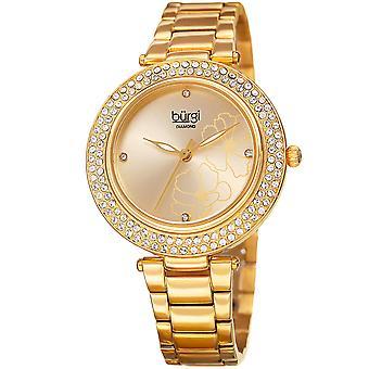 Burgi Women's Quartz Printed Flower Pattern Stainless Steel Gold-Tone Bracelet Watch BUR179YG