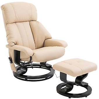 HOMCOM Luxury Fuax leather Chair Recliner Electric Massage Chair Sofa 10 Massager Heat with Foot Stool Cream