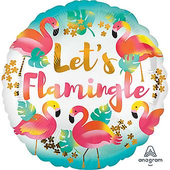 Anagram 18in Lets Flamingle Round Foil Balloon