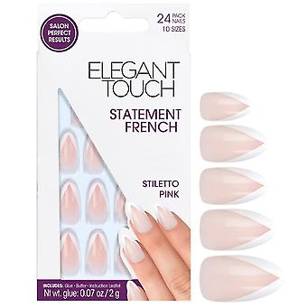 Elegant Touch False Nails - Stiletto Pink (24 Pack, 10 Sizes)