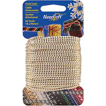 Needloft Novelty Craft Cord 20 Yards Metallic White & Gold 550 55007
