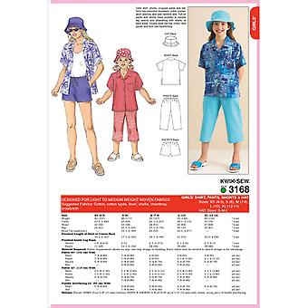 Shirt, Pants, Shorts & Hat  Xs 4  5   S 6   M 7  8   L 10   Xl 12  Pattern K3168