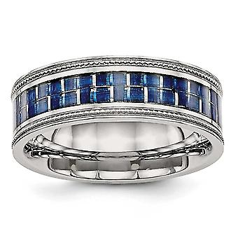 8mm Stainless Steel Polished With Blue Carbon Fiber Textured Edge Ring - Ring Size: 7 to 13