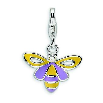 Sterling Silver Enameled Bee With Lobster Clasp Charm - 1.4 Grams - Measures 22x15mm