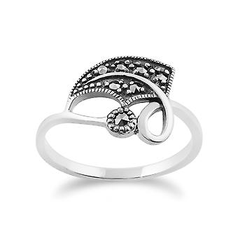 Gemondo 925 Sterling Silver 0.13ct Marcasite Art Nouveau Leaf Design Ring