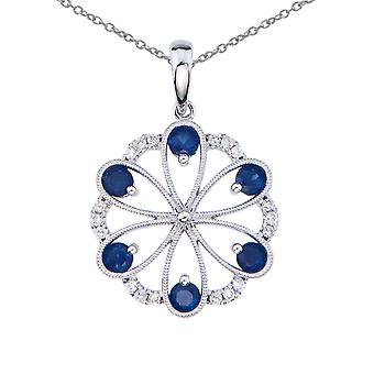 14k White Gold Sapphire and Diamond Flower Pendant with 18
