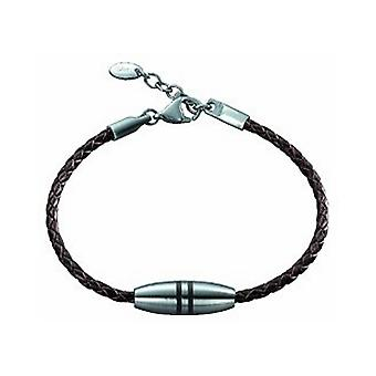 ESPRIT men's leather bracelet stainless steel Silver 4280989
