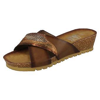 Ladies Down To Earth Mid Wedge X Vamp Mule Sandals F10713